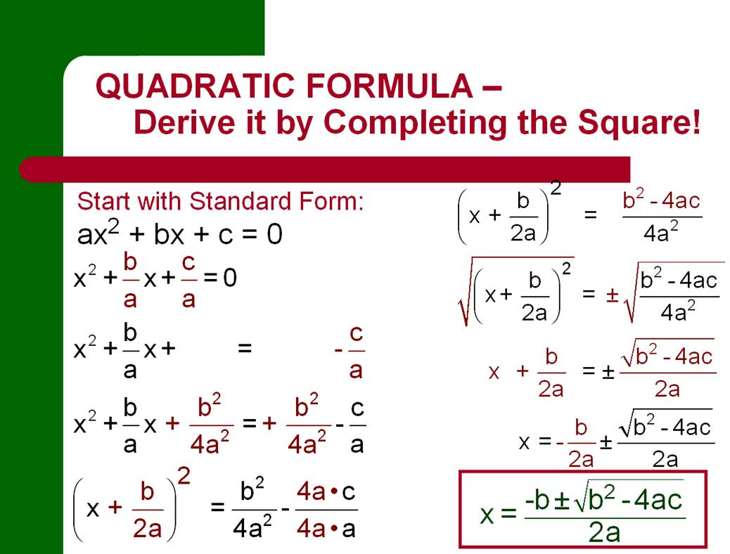 Amazing Math Topics - Quadratic Formula